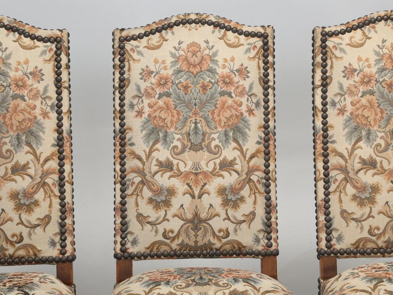French dining chairs, set of (4) in an as found condition, although, they are quite usable, until you pick out your new fabric covering. This set of (4) vintage French dining chairs just came in, along with about another (75) antique French dining