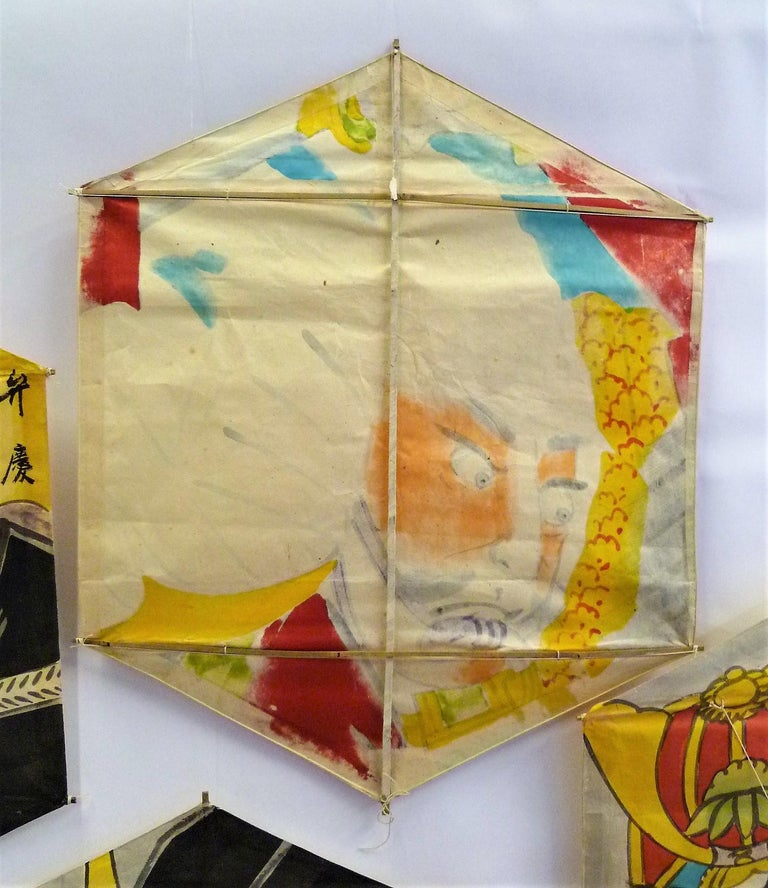 Set of 4 Vintage Hand Painted Japanese Kites Samurai Depictions, 1970s For Sale 5