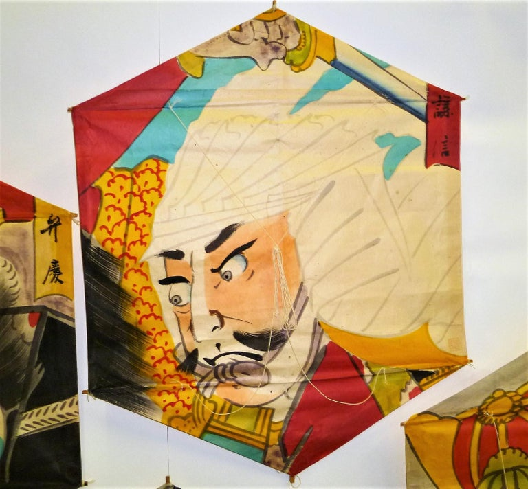 Edo Set of 4 Vintage Hand Painted Japanese Kites Samurai Depictions, 1970s For Sale