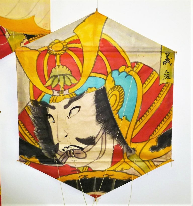Set of 4 Vintage Hand Painted Japanese Kites Samurai Depictions, 1970s For Sale 3