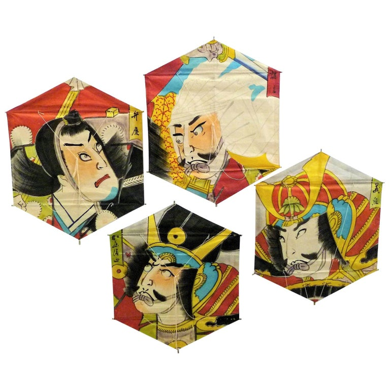 Set of 4 Vintage Hand Painted Japanese Kites Samurai Depictions, 1970s For Sale