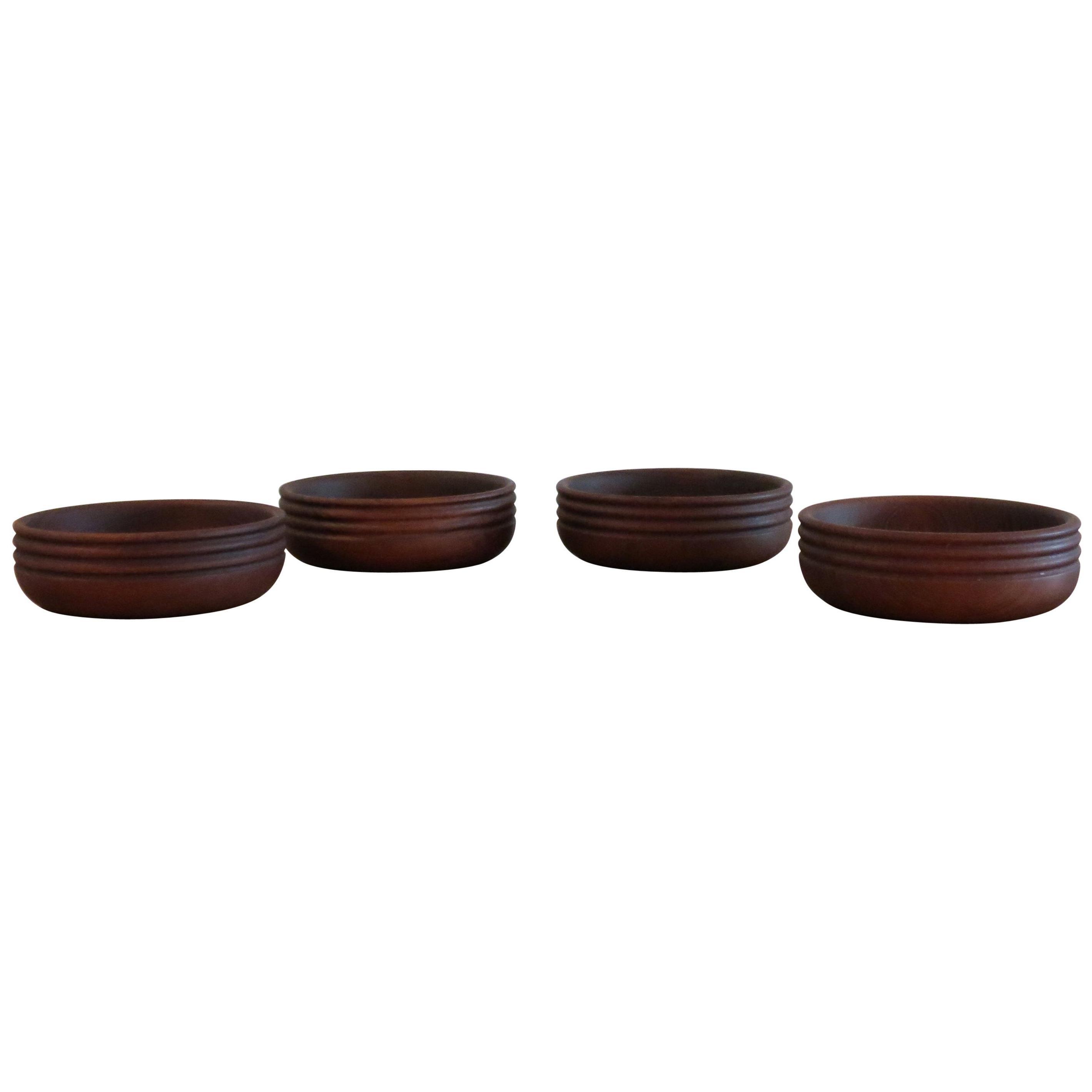 Set of 4 Vintage Handmade Teak Wooden Bowls by Galatix