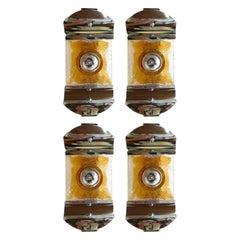 Set of 4 Vintage Italian Glass & Chrome Sconces by Mazzega