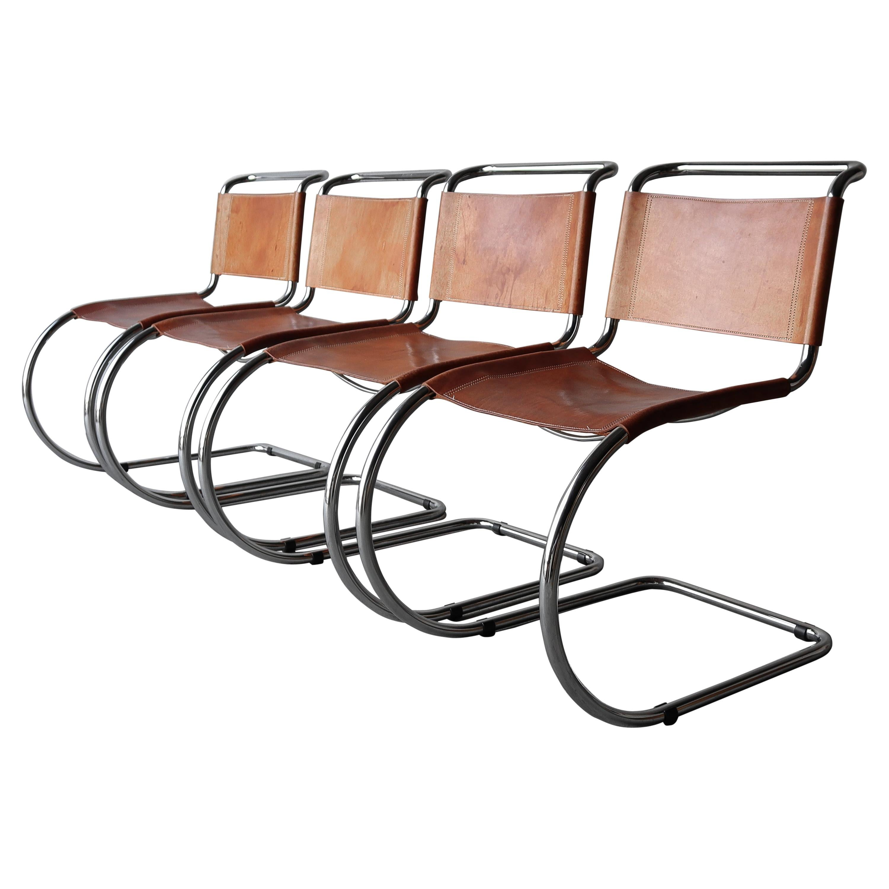 Set of 4 Vintage Leather and Chrome Spoleto MR10 Dining Chairs