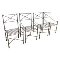 Set of 4 Vintage Maison Jansen Style Iron Metal Dining Armchairs