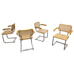 Set of 4 Vintage Marcel Breuer Style Armchairs, Made in Italy, 1970s