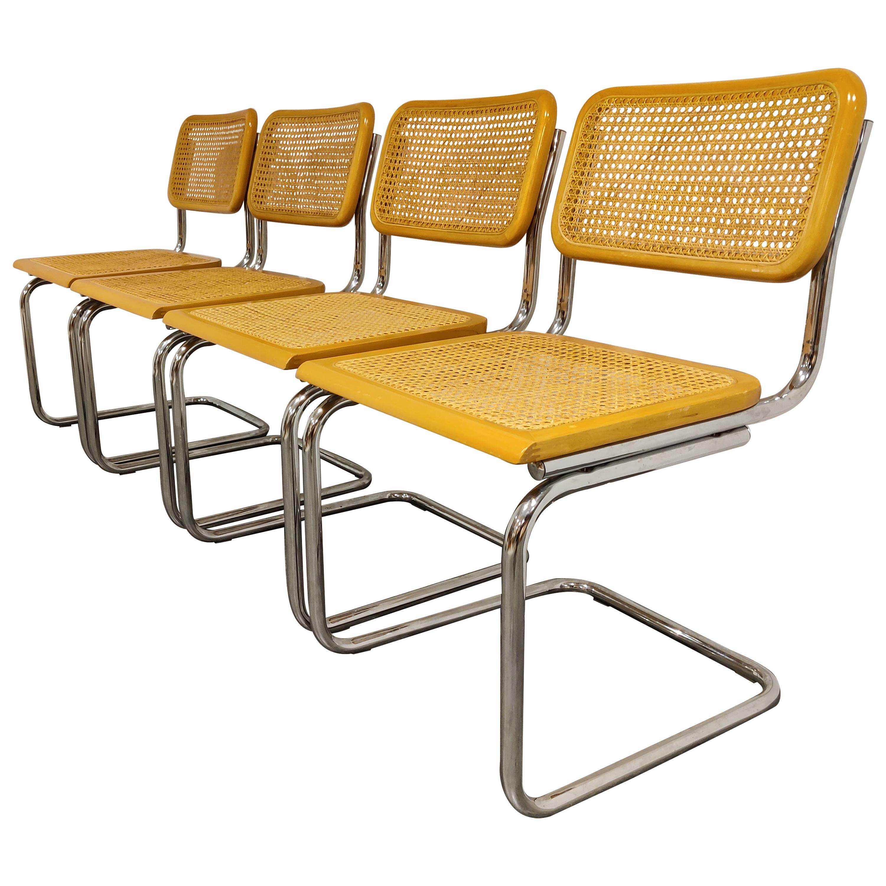 Set of 4 Vintage Marcel Breuer Style Cesca Chairs, Made in Italy, 1970s