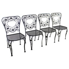 Set of 4 Vintage Meadowcraft Wrought Floral Iron Patio Dining Side Chairs