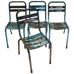 Set of 4 Vintage Metal Cafe Dining Chairs