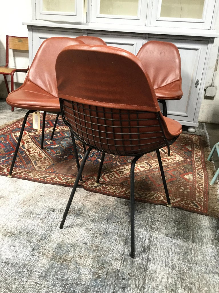 Set of 4 Midcentury Brown Vinyl Dining Side Chairs For Sale 2