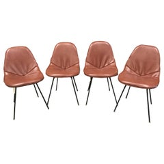 Set of 4 Midcentury Brown Vinyl Dining Side Chairs