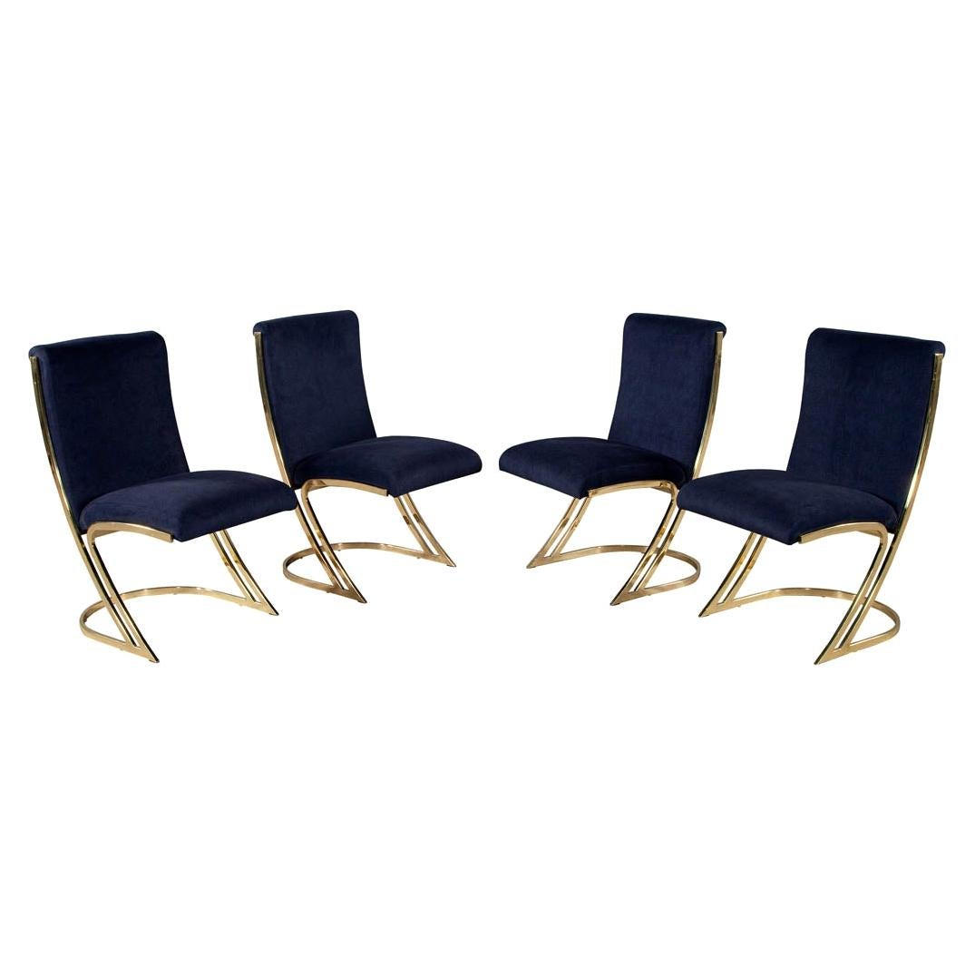 Set of 4 Vintage Mid-Century Modern Brass Dining Chairs