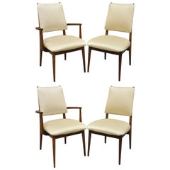 Set of 4 Vintage Midcentury Danish Modern Walnut Dining Room Chairs