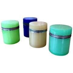 Set of 4 Vintage Murano Glass Colored Boxes