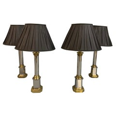 Set of 4 Vintage Nickel and Brass Table Lamps, Lovely Condition
