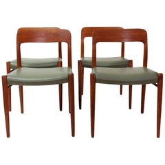 Set of 4 Vintage Niels Moller Model 75 Chairs, Green