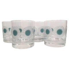 Set of 4 Vintage Rocks Glasses Designed by Fred Press with Translucent Teal Dots