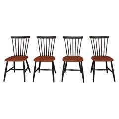 Set of 4 Vintage Scandinavian Chairs Hagafors Svensk Tillverkning