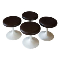 Set of 4, Vintage Stools, French, Leather, Pedestal, 20th Century, circa 1960