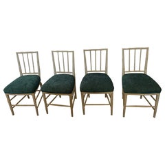 Set of 4 Vintage Swedish Painted Side Chairs with Upholstered Teal Seats