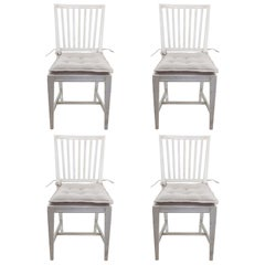 Set of 4 Vintage Swedish Side Chairs with Oatmeal Seat Cushions