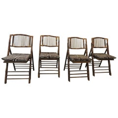 Set of '4' Vintage Tortoise Bamboo Folding Chairs with Seat Cushions