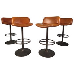 Set of 4 Vintage Upholstered Swiveling Bar Stools