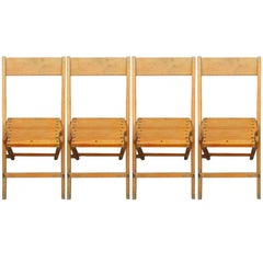 Set of 4 Vintage Wood Folding Chairs; many available (total of 470 chairs avail)