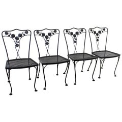 Set of 4 Vintage Wrought Floral Iron Patio Dining Side Chairs