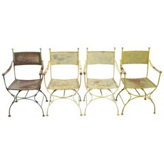 Set of 4 Vintage Wrought Iron Curule X-Frame Garden Patio Dining Armchairs