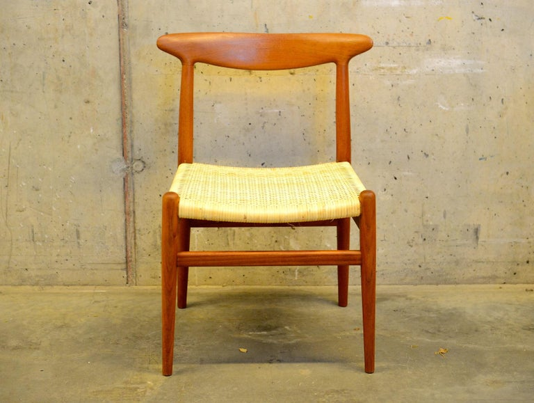 Danish Set of 4 W2 Teak and Cane Chairs by Hans J. Wegner, 1950s, C.M. Madsens DK For Sale