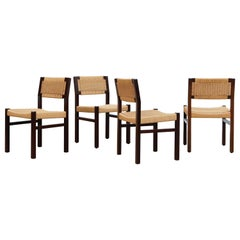 Set of 4 Wenge & Papercord Dining Chairs by Arnold Merckx for Fristho, 1973