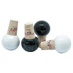 Set of 4 White and Black Marble Bottles Stoppers
