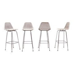 Set of 4 Wicker Bar Stools in the Style of Charlotte Perriand
