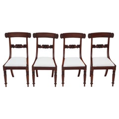 Set of 4 William IV Mahogany Bar Back Dining Chairs