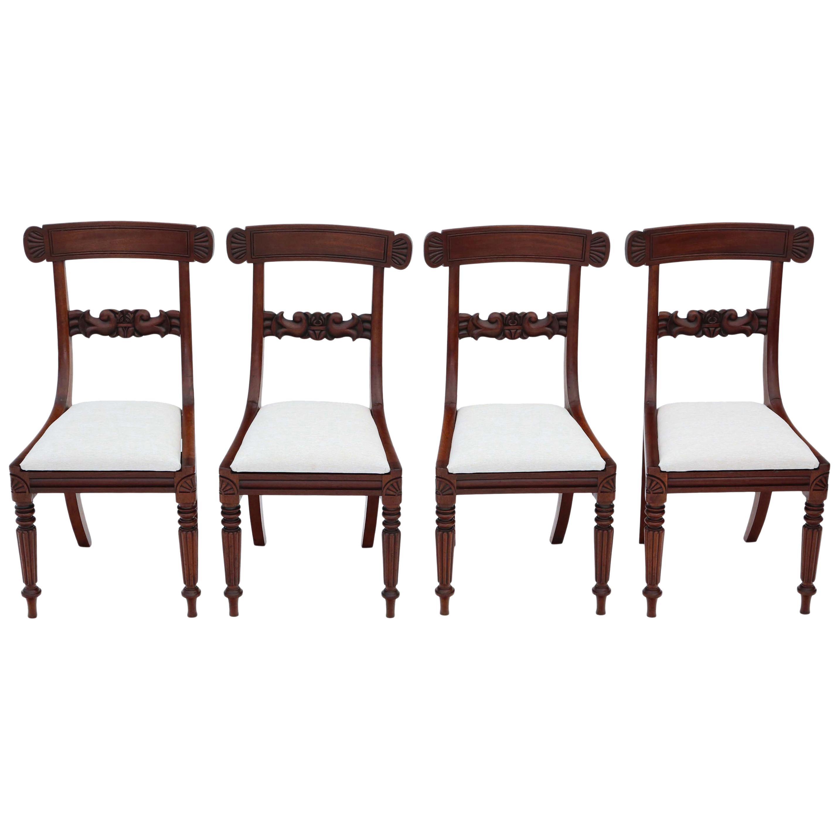 Set of 4 William IV Mahogany Bar Back Dining Chairs