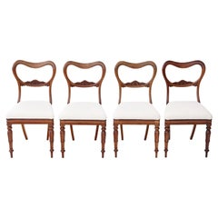Set of 4 William IV Rosewood Balloon Back Dining Chairs