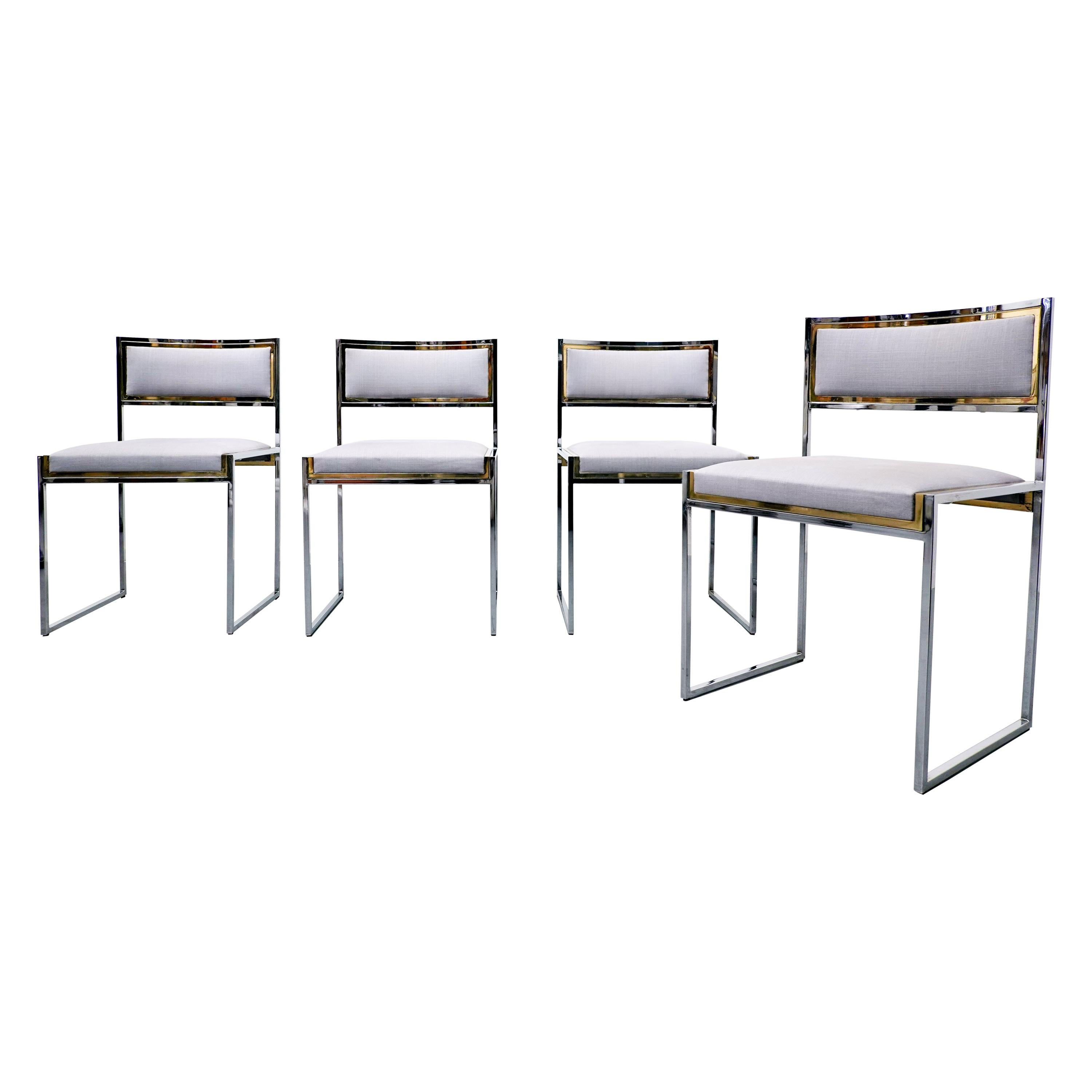 Set of 4 Italian Mid Century Chairs Willy Rizzo - 1970s.