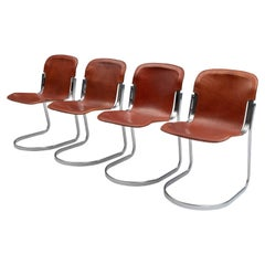 Set of 4 Willy Rizzo Diningchairs in Chrome and Leather for Cidue, Italy, 1970s