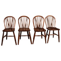 Set of 4 Windsor Chairs 19th Century Stamped Jelliot & Son