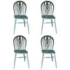Set of 4 Windsor Chairs, English, Antique Windsor Chairs, Decorative, Painted