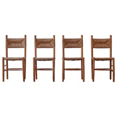 Set of 4 Wood and Rush Dining Chairs, France, 1960s, Style of Charlotte Perriand