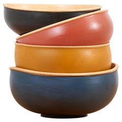 Set of 4 Wooden Bowls by Fabian Fischer, Germany, 2020