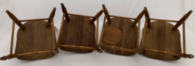 20th Century Set of Four Wooden Children's Chairs with Spindle and Rounded Backs, 1900s For Sale