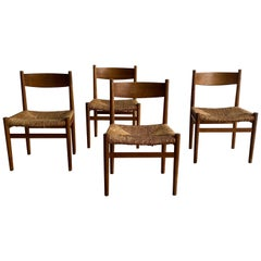 Set of 4 Woven Rush Danish Design Dining Room Chairs in Oak