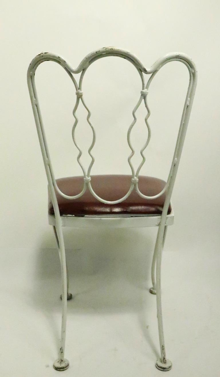 Set of 4 Wrought Iron Dining Chairs by Lee Woodard For Sale 6