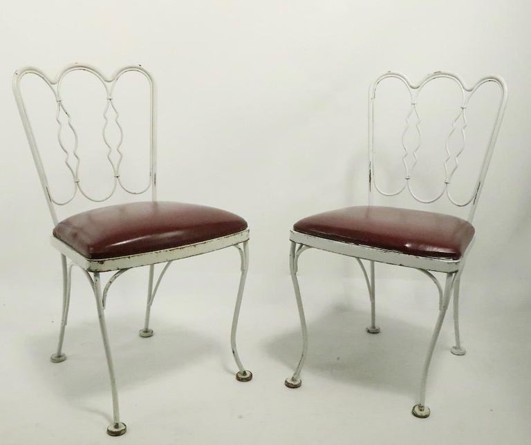 Set of 4 Wrought Iron Dining Chairs by Lee Woodard For Sale 7