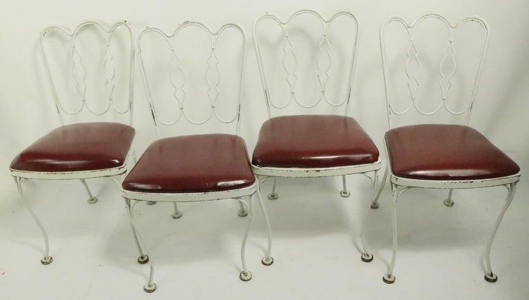 Mid-Century Modern Set of 4 Wrought Iron Dining Chairs by Lee Woodard For Sale