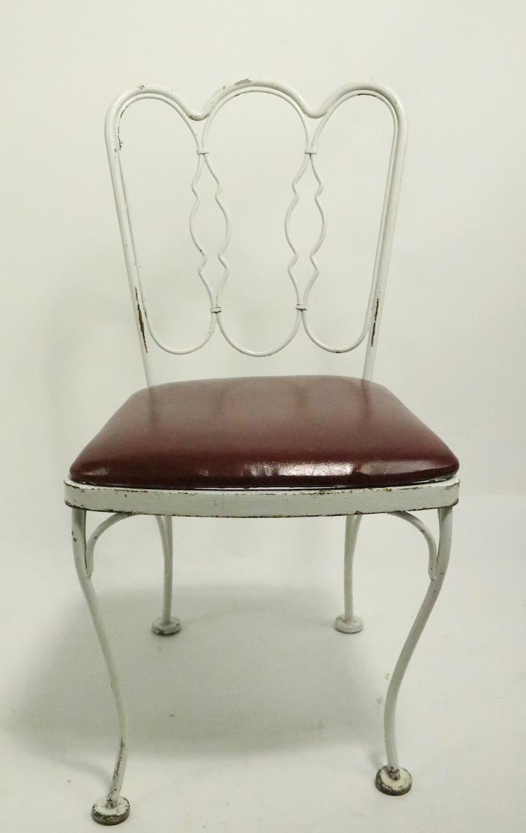American Set of 4 Wrought Iron Dining Chairs by Lee Woodard For Sale