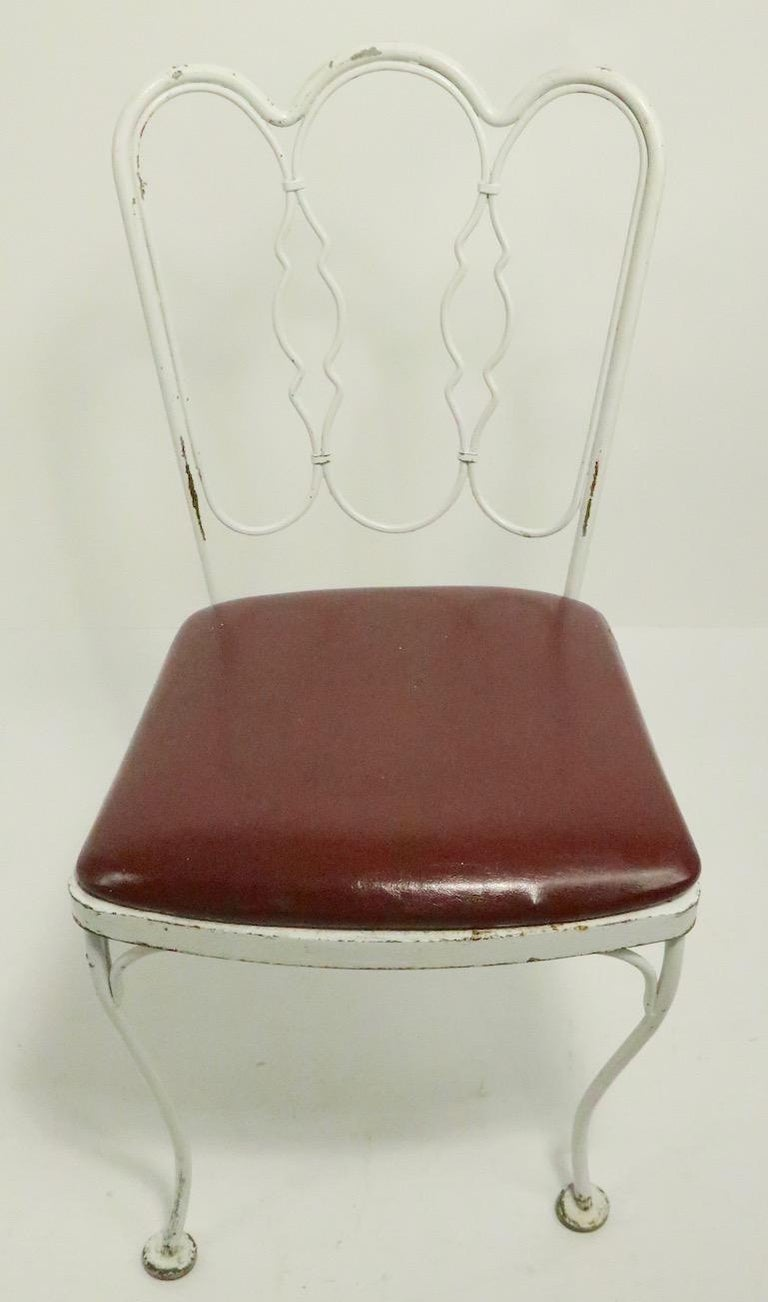 Set of 4 Wrought Iron Dining Chairs by Lee Woodard In Good Condition For Sale In New York, NY